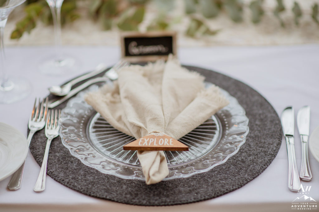 Explore napkin ring for Styled Iceland Elopement