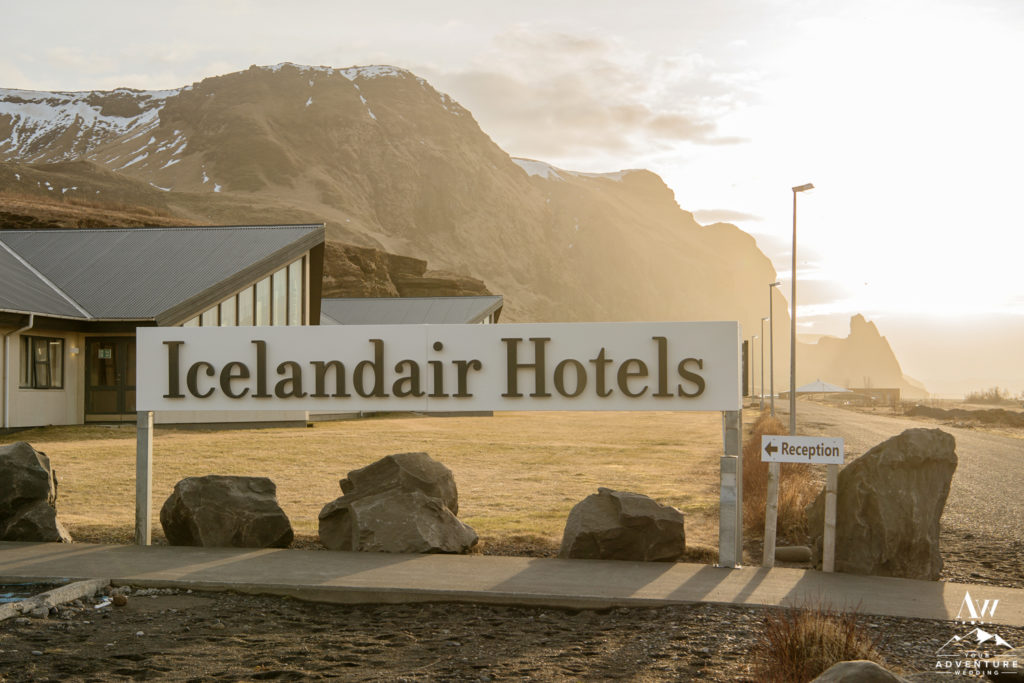 Icelandair Vik entrance sign at Sunrise of Elopement Adventure