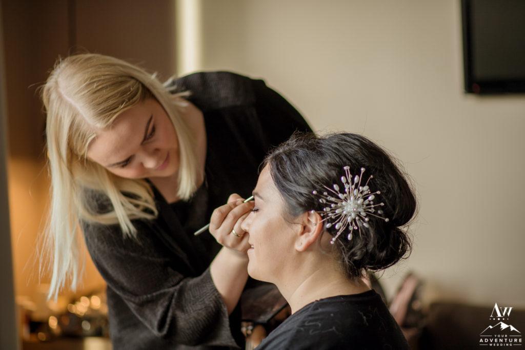 Iceland MAC Makeup Artist working on Bride