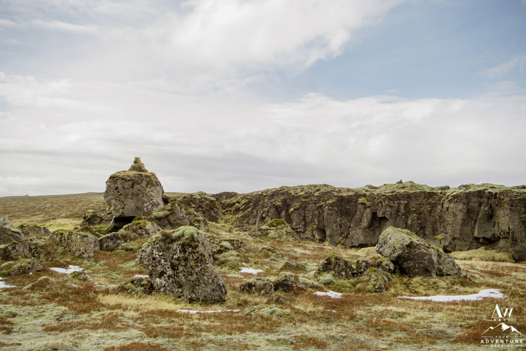 Iceland lava rock formations during elopement