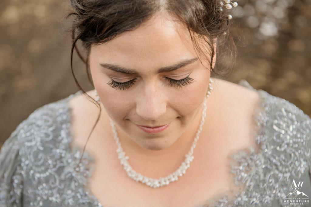 Closeup of Icelandic Brides Makeup