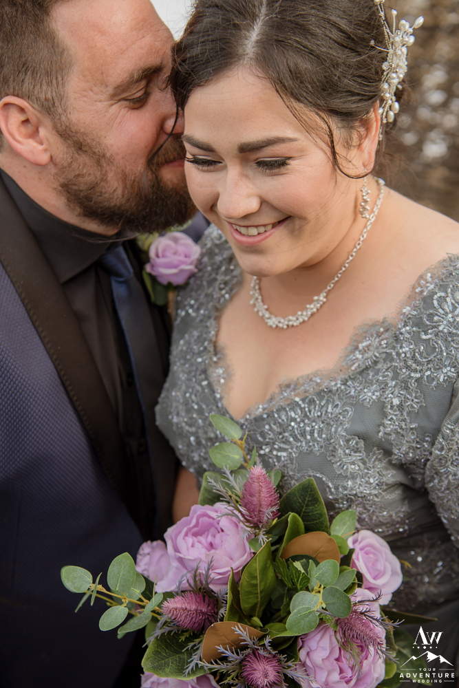 Closeup of Iceland Wedding Couple laughing
