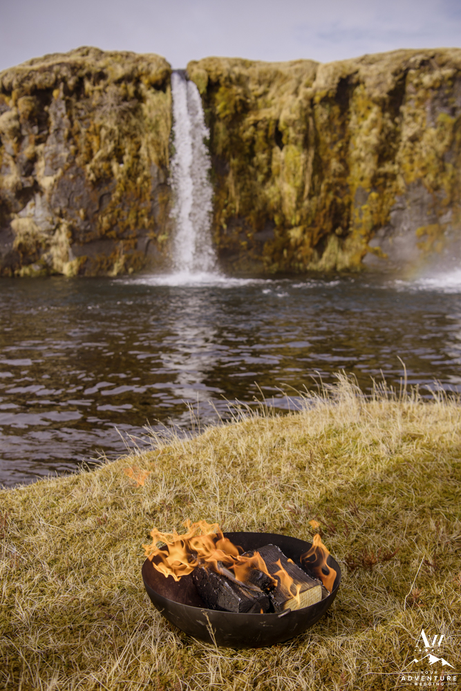 Fire during Iceland Wedding Ceremony at a waterfall