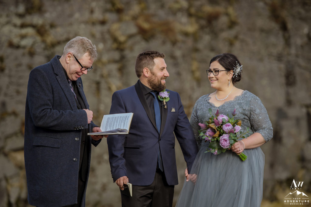 Couple looking at each other during Iceland elopement ceremony