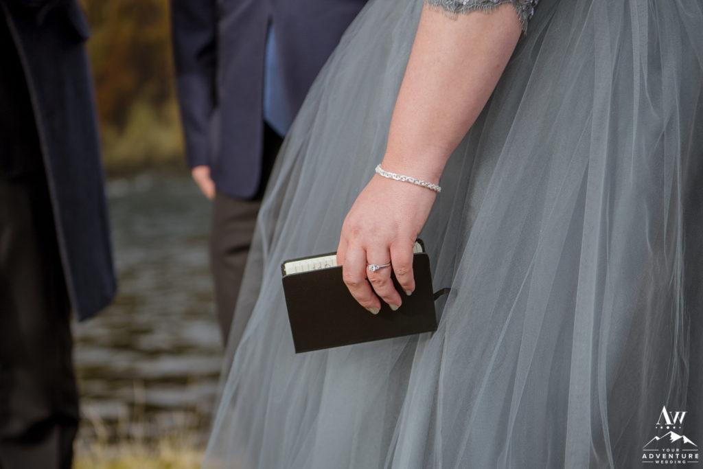 Bride Holding her Iceland Wedding Vows