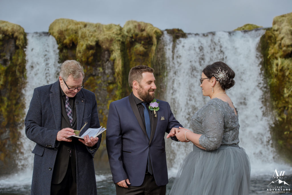 Exchanging rings during Iceland Wedding Ceremony