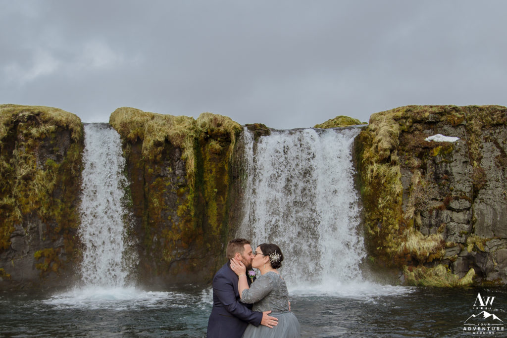 Couple kissing at the end of their Iceland Wedding Ceremony
