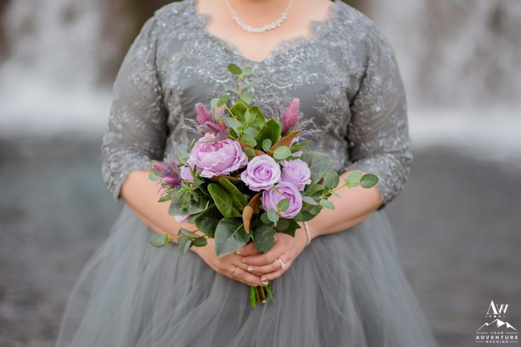 Bride Holding her Iceland Wedding Bouquet
