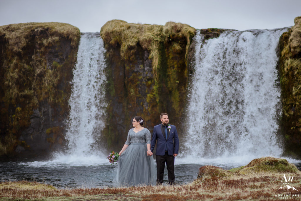 Bride and Groom at a private waterfall in Iceland