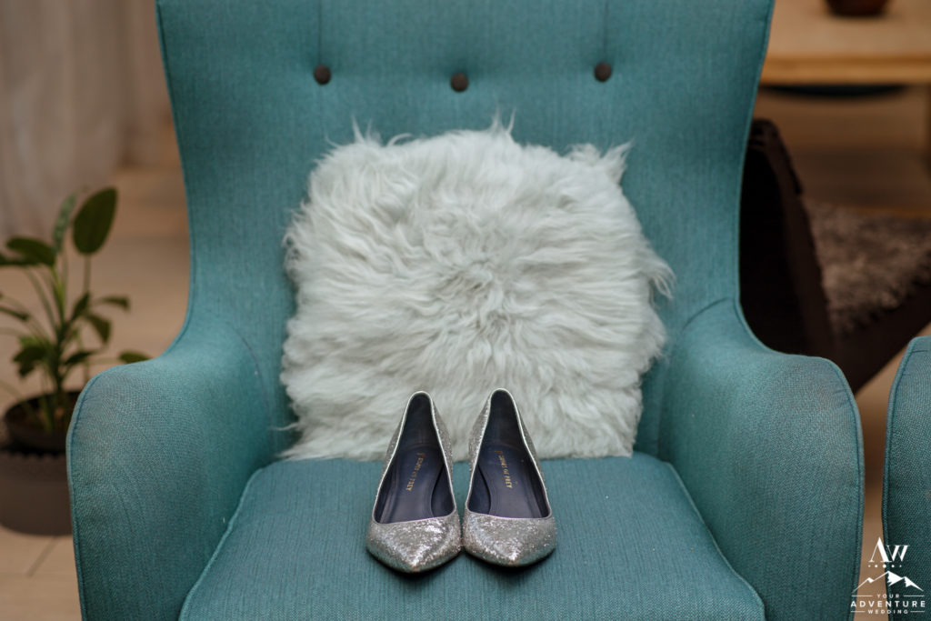 Brides Silver Reception Heels for Iceland Elopement