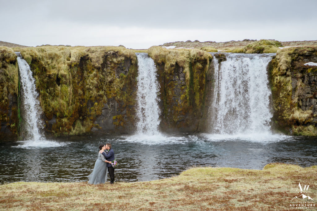 Couple kissing during Iceland elopement adventure
