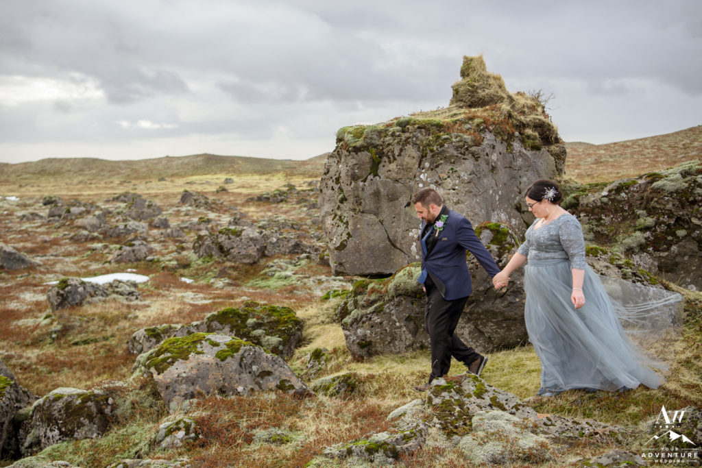Dane leading Heather on their Iceland Elopement Adventure