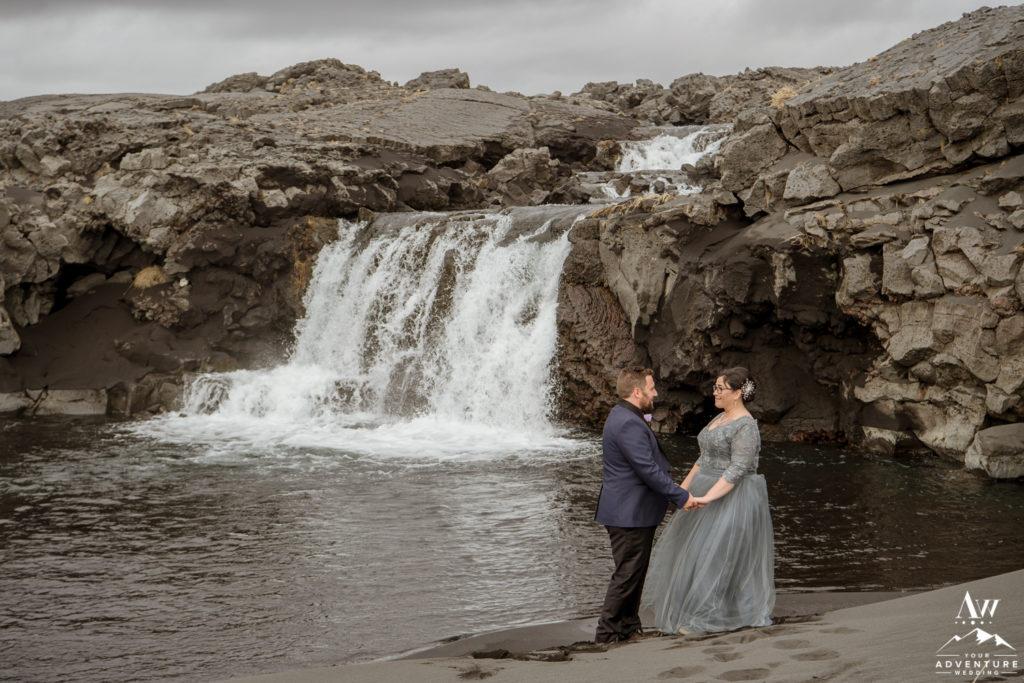 Black Beach Lava Rock Waterfall Wedding Photos