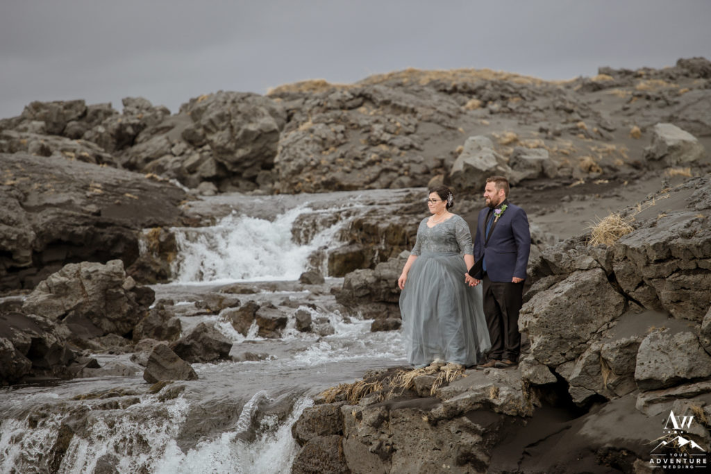 Iceland Wedding Couple at a private lava rock waterfall