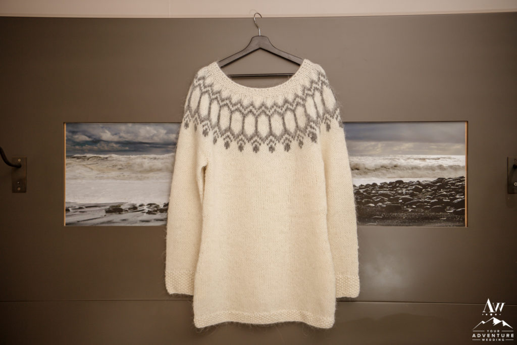 White Icelandic Sweater for Iceland Elopement