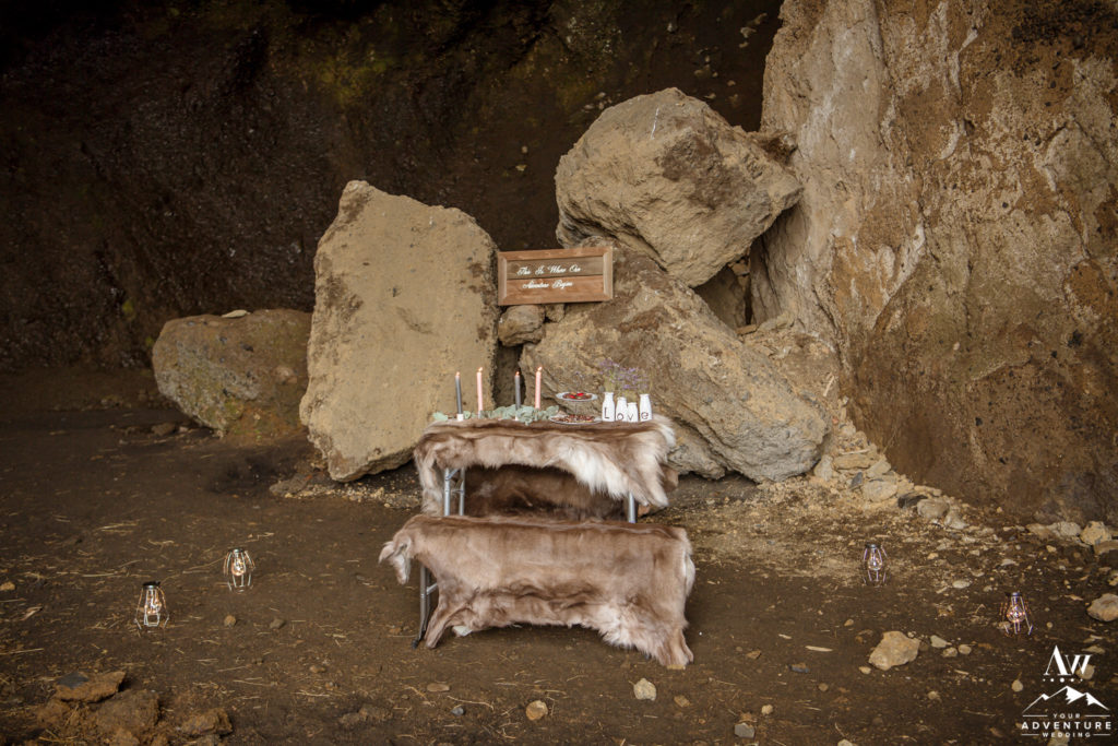 Luxury Winter Elopement in Iceland picnic setup in a Cave