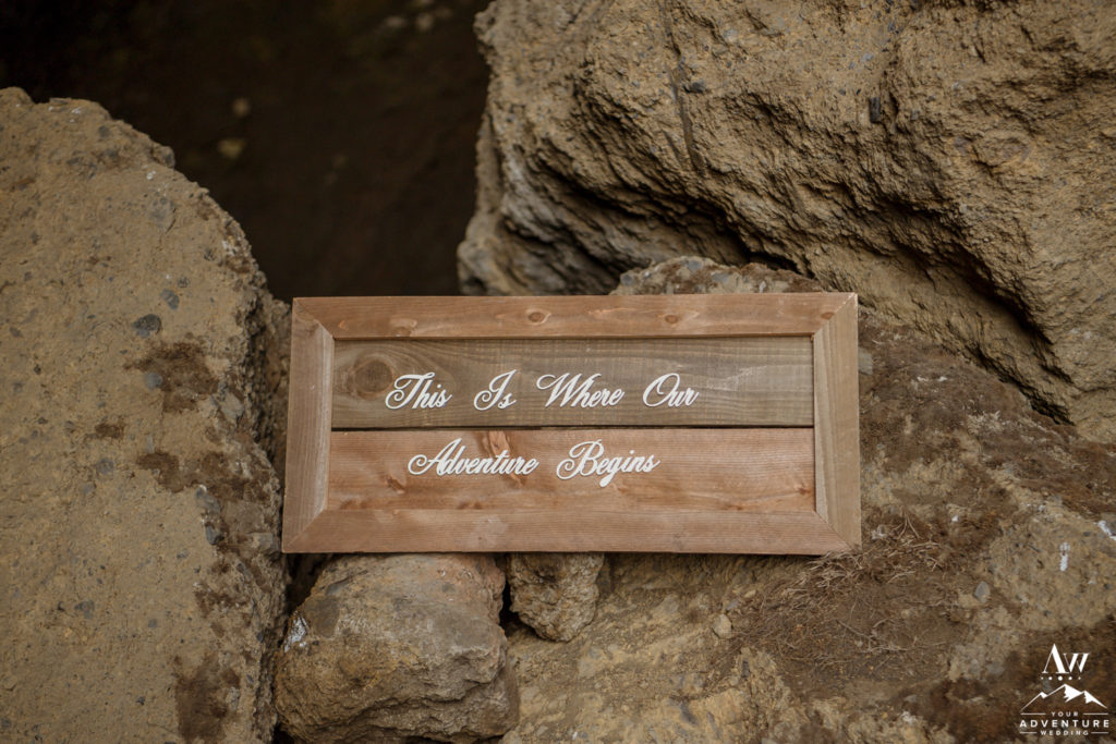 This is where our adventure begins sign for Iceland Elopement