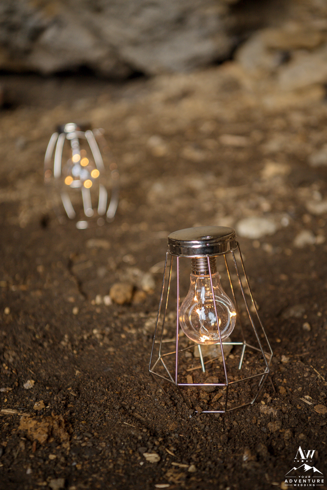 Battery Powered Lanterns for Iceland Cave Wedding Decor