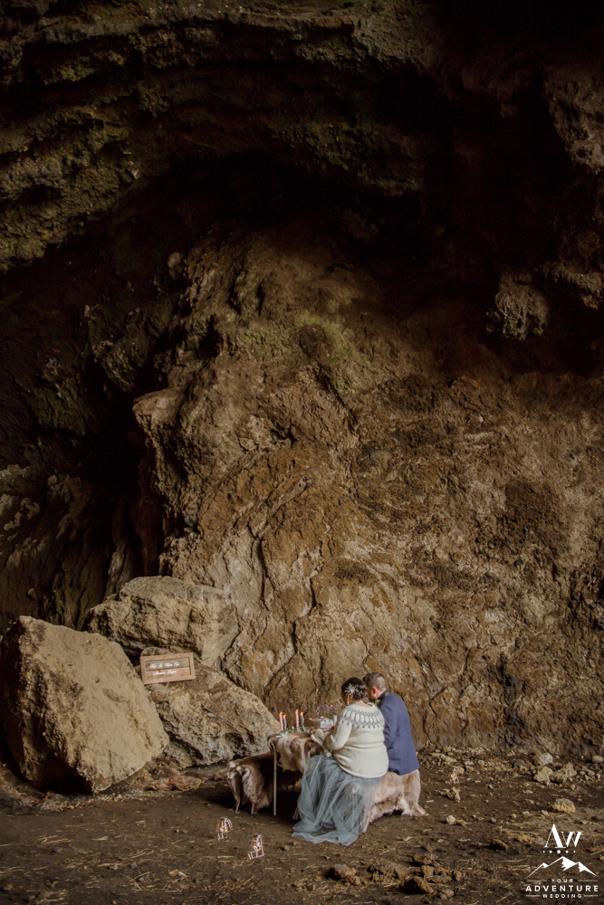 Luxury Winter Elopement Picnic in a Cave