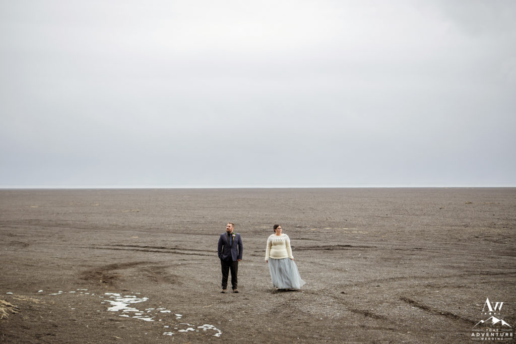 Iceland Elopement Photos on a black desert