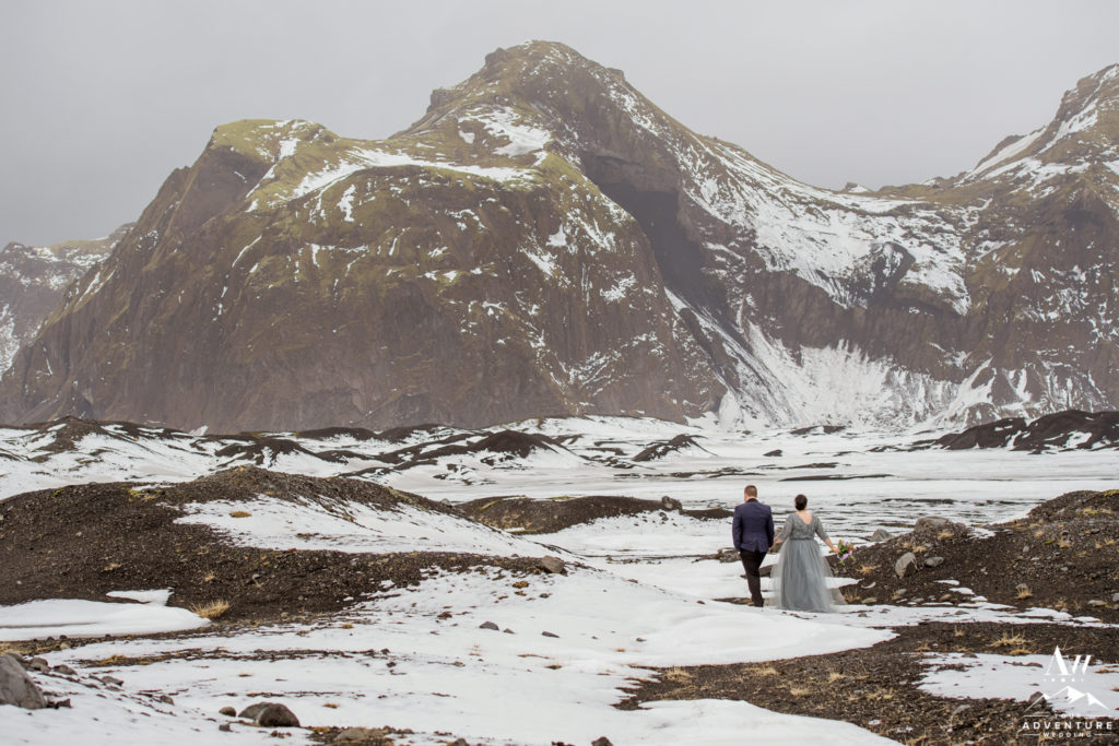 Iceland Wedding Couple Adventuring in the snow in April