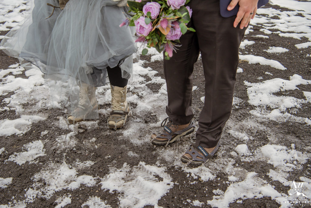 Adventure Wedding with crampons in Iceland