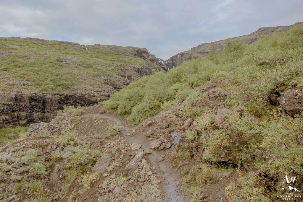 Hiking Trail for Glymur Waterfall during Iceland Wedding