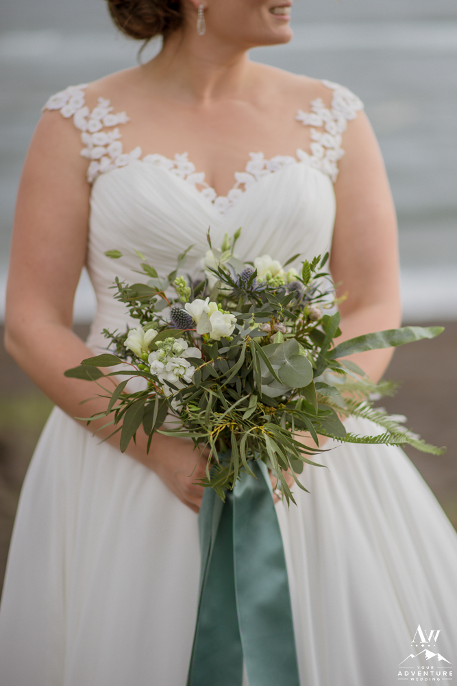 Bride holding Iceland Wedding Bouquet
