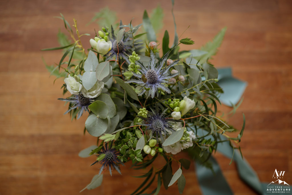 Iceland Wedding Bouquet with Blues and Green Thistle