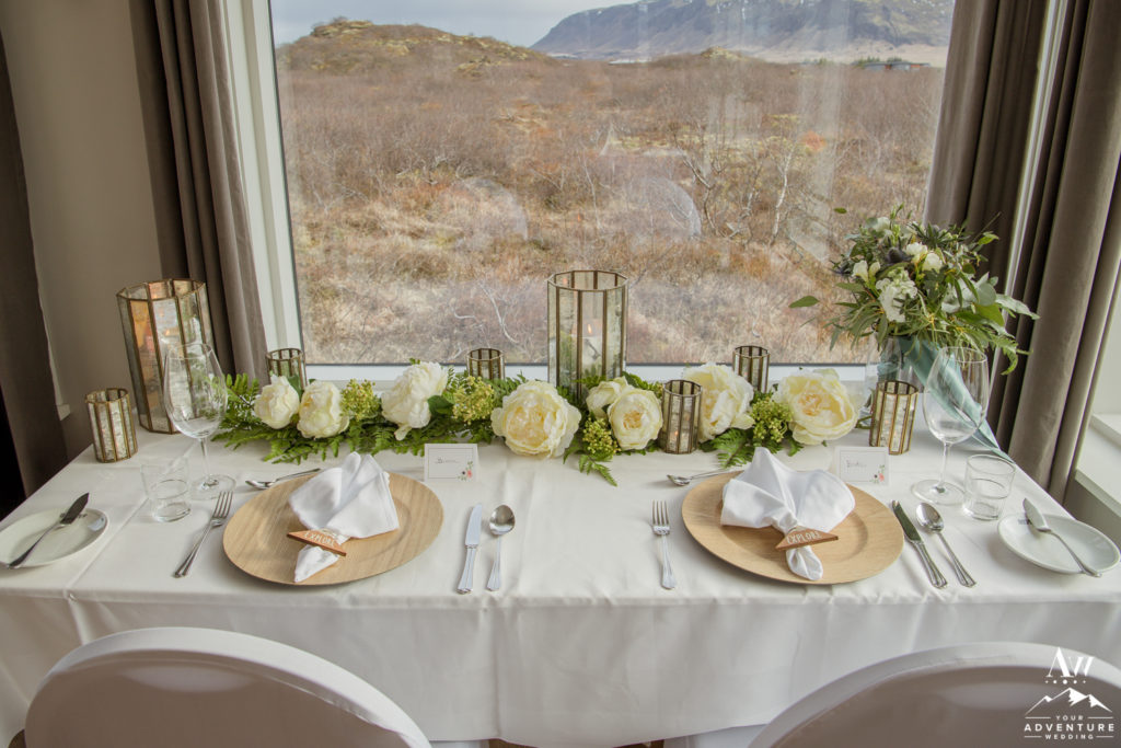 Iceland Wedding Reception Styled Table for two