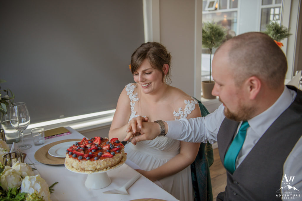 Iceland Wedding Couple Cutting their Skyr Wedding Cake