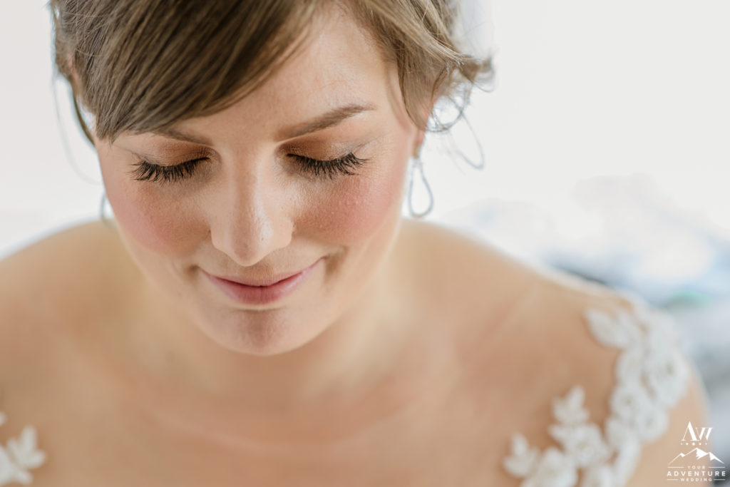 Closeup of Brides Makeup for Iceland Wedding