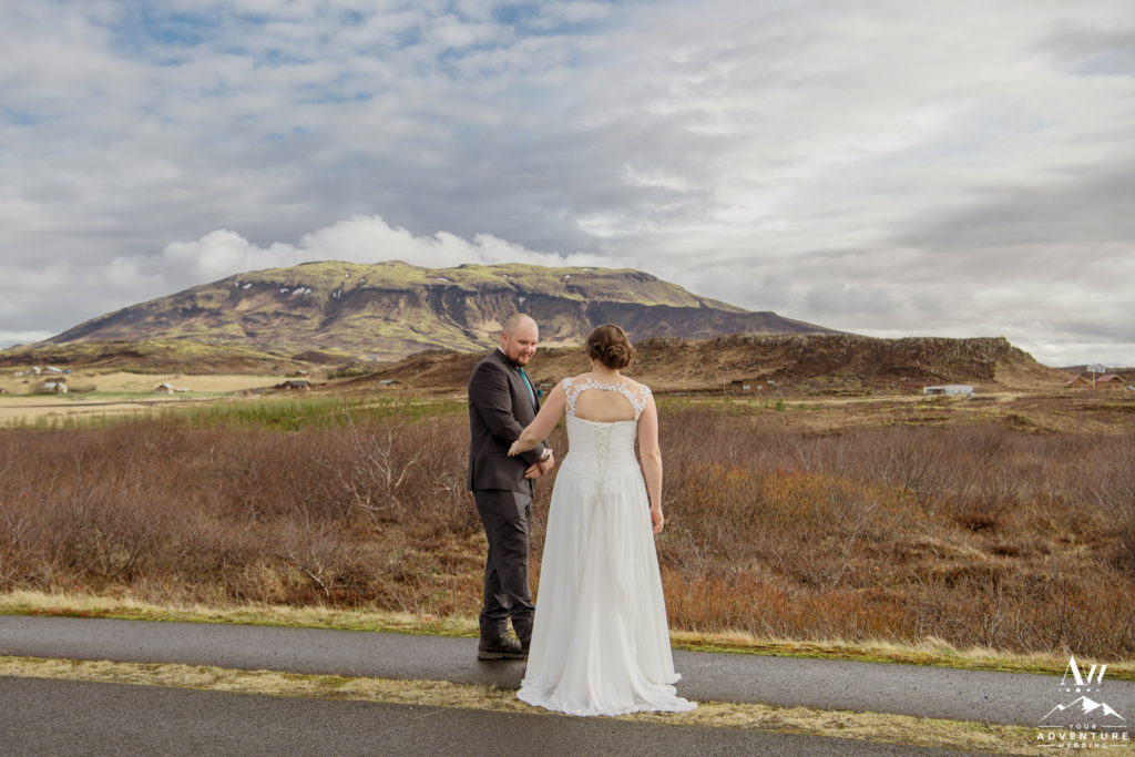 Iceland Wedding First Look at Hotel Grimsborgir