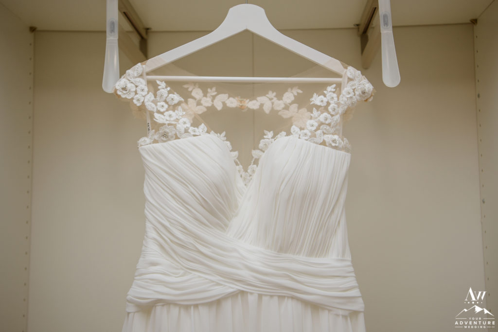 Iceland Wedding Dress hanging at Hotel Grimsborgir