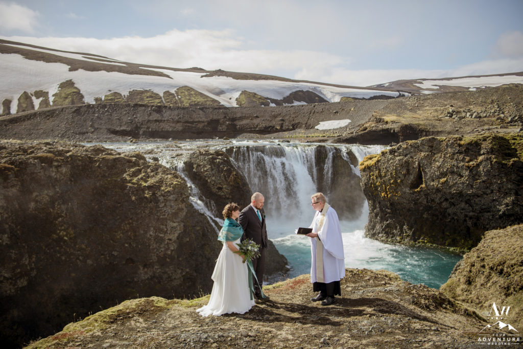 Iceland Destination Wedding Ceremony at a waterfall