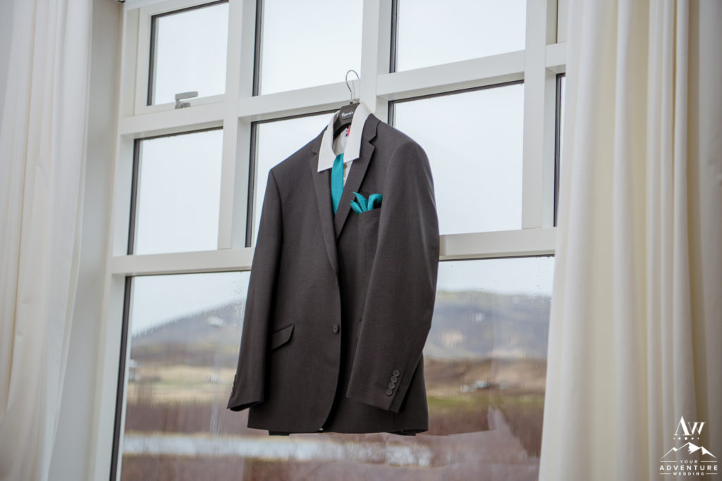 Grooms Suit before Iceland Wedding