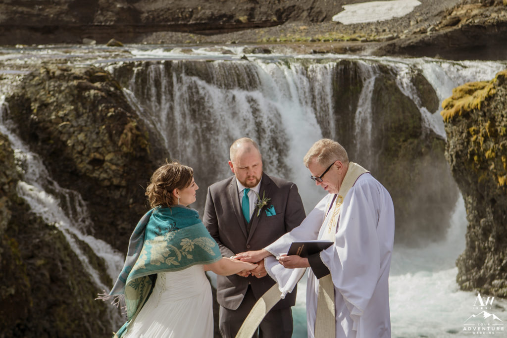 Iceland Wedding Ceremony at a highland waterfall