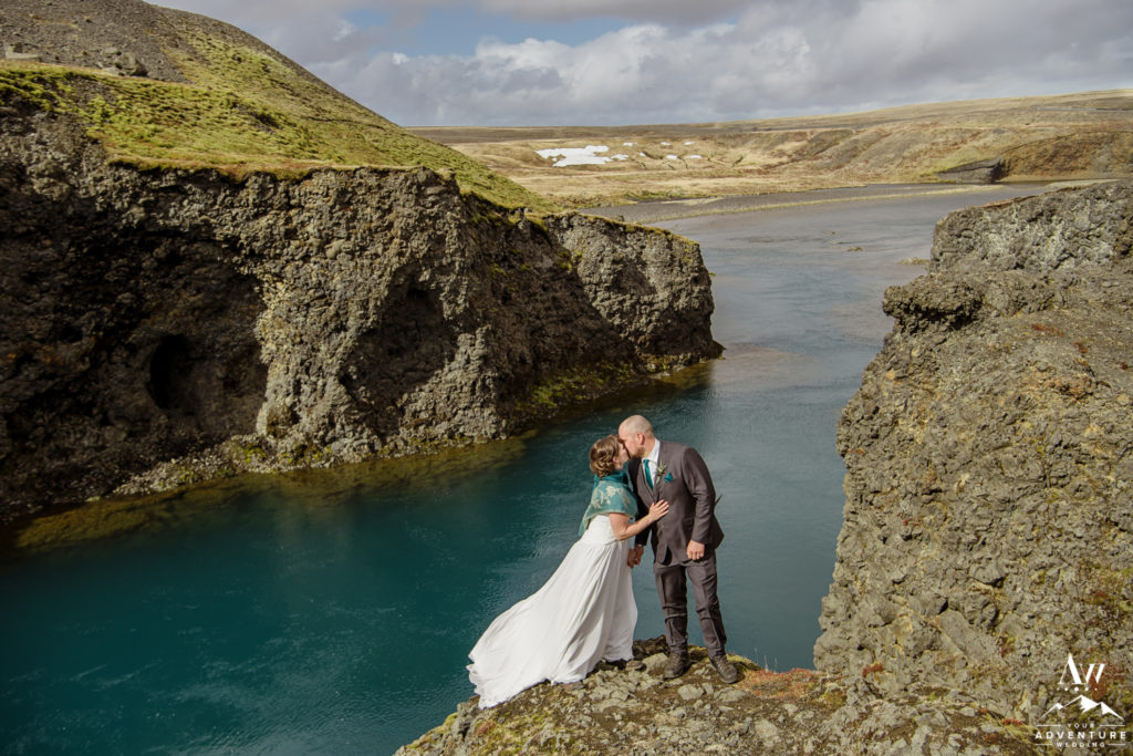 Iceland Wedding Ceremony Ending with a kiss