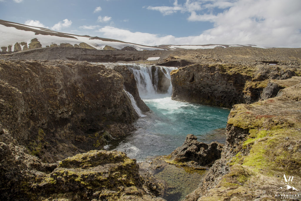 Highland Waterfall in Iceland Landscape Photo