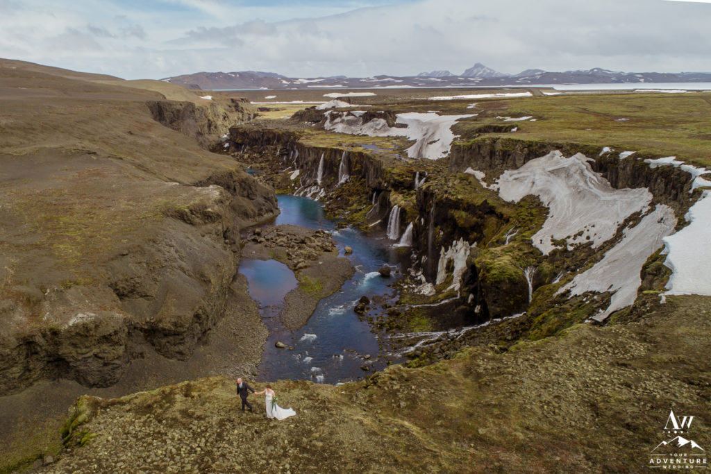 Iceland Drone Wedding Photos overlooking a canyon
