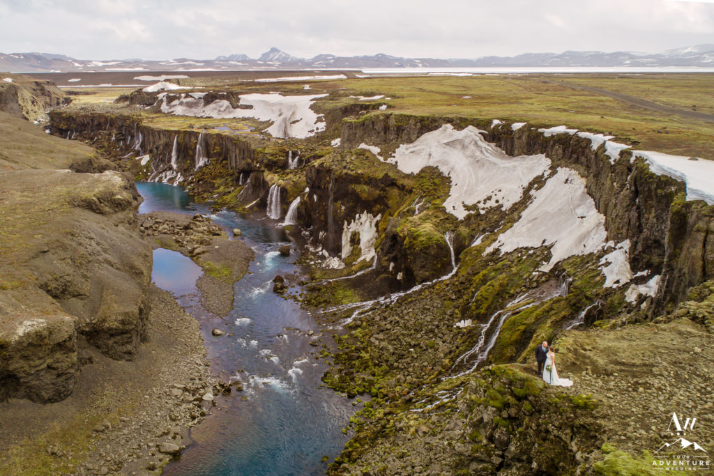Canyon Wedding Photos with a drone in Iceland