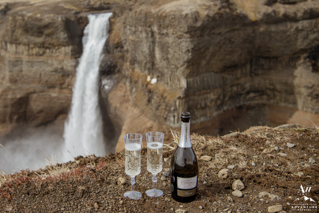 Champagne Wedding Toast at Haifoss Iceland
