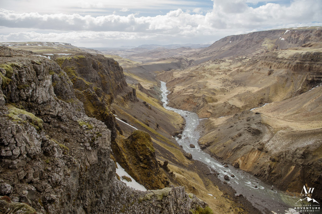 Háifoss Canyon overlook in Iceland