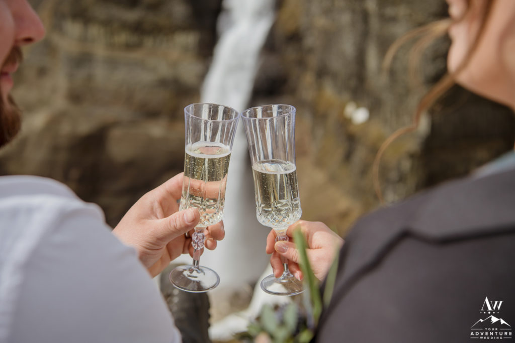 Iceland elopement toast with champagne