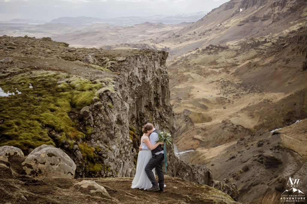 Iceland Wedding couple hugging in the Highlands