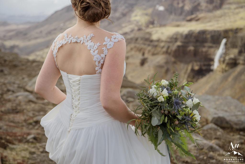 Icelandic Bride Holding her Bouquet