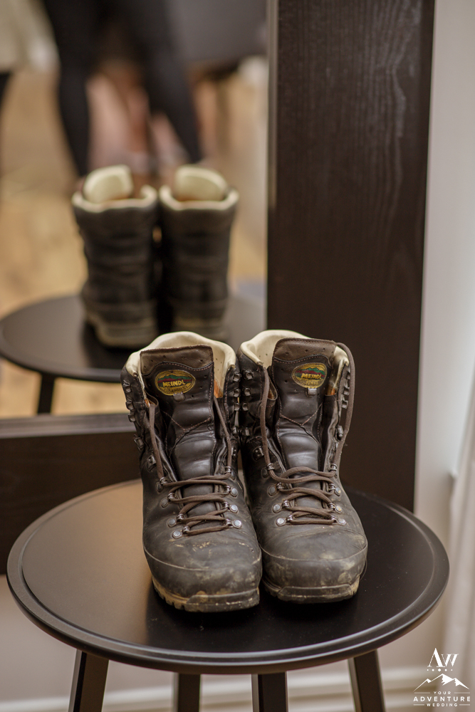 Grooms Iceland Wedding Hiking Boots