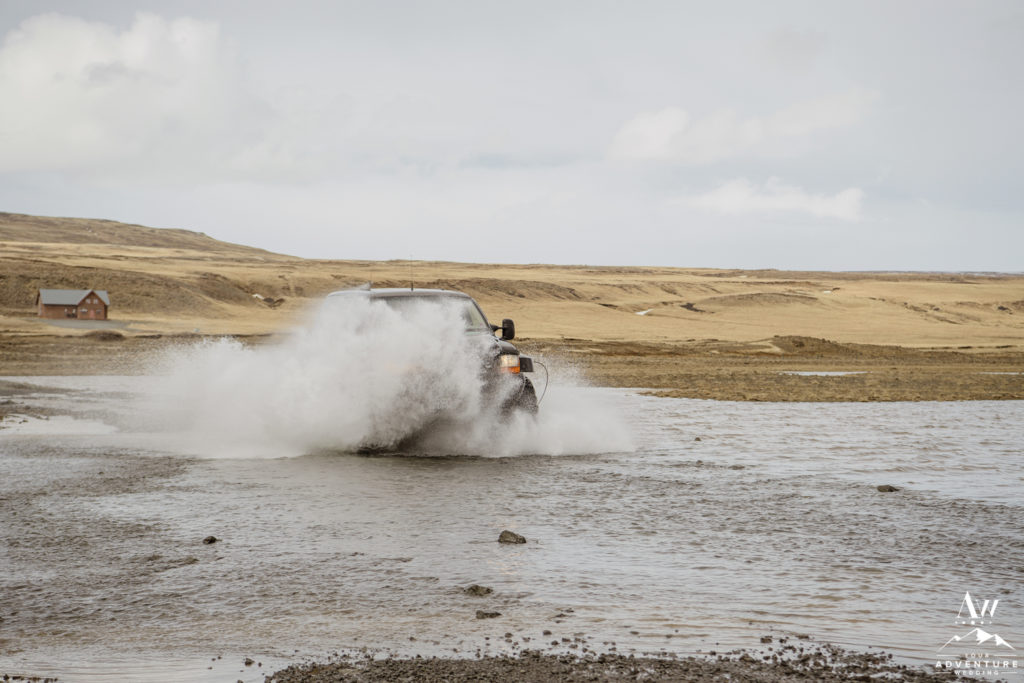 Ford Excursion Crossing a River in Iceland
