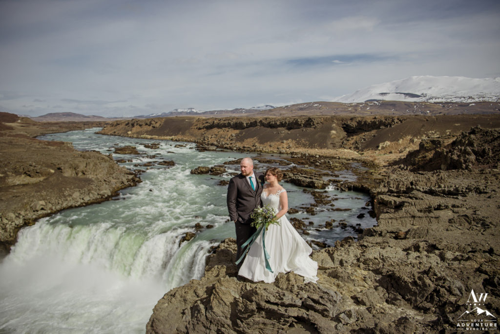 Couple enjoying the view on Iceland Wedding day