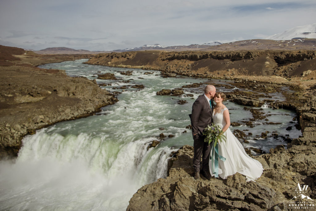 Iceland Adventure Wedding at a waterfall
